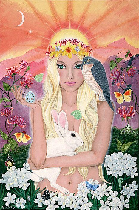 La Déesse du Printemps, Ostara, avec sa couronne de Fleurs